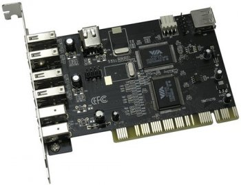 Контроллер PCI, USB 2.0, 4 port-ext, 1 port-int / IEEE 1394, 2 port-ext, 1 port-int