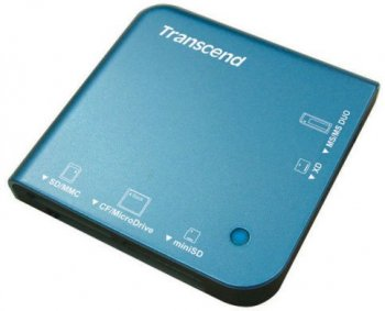 Картридер Transcend <TS-RD13B> Blue USB2.0 CF/MD/MMC/SD/Mini SD/xD/MS(/Pro/Duo) Card Reader/Writer