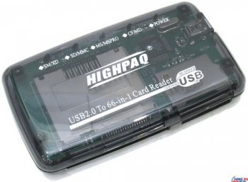 Картридер HighPaq <CR-Q002> USB2.0 CF/MD/SM/MMC/RSMMC/SDHC/xD/MS(/Pro/Duo) Card Reader/Writer