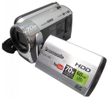 "Видеокамера Panasonic SDR-H80-S <Silver> SD/HDD Video Camera (HDD 60Gb,0.8Mpx,70xZoom,стерео, 2.7"",SD/SDHC,USB2.0,Li-Ion)"