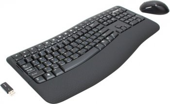 Комплект клавиатура + мышь Microsoft Wireless Comfort Desktop 5000 USB (Кл-ра Black, Ergo,М/Мед+Мышь 5кн, Roll) <CSD-00017>