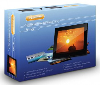 "Цифровой фотоальбом Digma TFT 10"" PF-1002 black 2Gb 1024x768 JPEG/BMP/GIF/TIFF/MPEG1/2/4/DivX/AVI/MP3"
