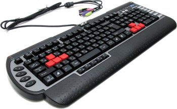 Клавиатура A4 G800MU black 3X Fast Gaming waterproof w/ext. 2.0 USB & Audio Ports PS/2