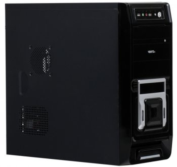 Корпус Vento (Asus) TA 821, ATX 450/500W (ном./макс.), Black/Silver, 2*USB 2.0 /Audio/Fan 8см