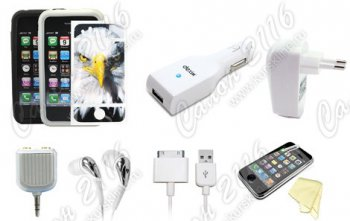 Набор акссесуаров Dexim Bundle Pack 7 in 1 DPA074C-W для iPhone 4 White