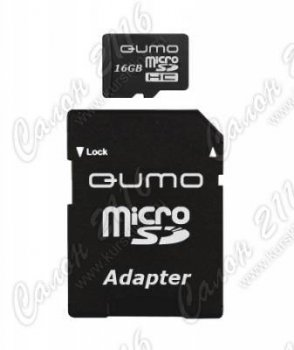 Карта памяти QUMO MicroSecureDigital High Capacity (microSDHC) 16Gb Class6 + адаптер microSD-->SD