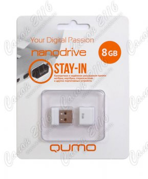 Накопитель USB Qumo Nano White <QM8GUD-NANO-W> USB2.0 Flash Drive 8Gb (RTL)