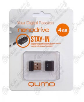 Накопитель USB Qumo Nano Black <QM4GUD-NANO-B> USB2.0 Flash Drive 4Gb (RTL)