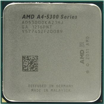 Процессор AMD A4-5300 (AD5300O) 3.4 ГГц / 2core / SVGA RADEON HD 7480D / 1 Мб / 65 Вт / 5 ГТ / с Socket FM2