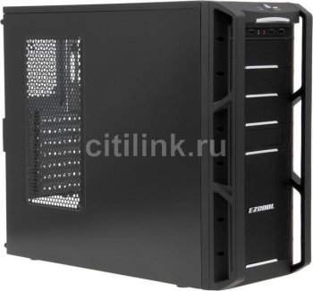 Корпус Ezcool HA-900B black w/o PSU ATX 4*USB 2.0 Audio mesh front panel blue led bottom PSU