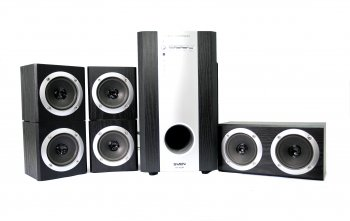 *Колонки SVEN HT-435R Black Home Theater Sound System (5x15W+Subwoofer 35W, дерево, ПДУ) (б/у)