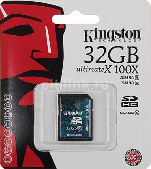 Карта памяти SDHC 32Gb class10 Kingston(SD10G2/32GB)
