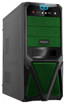 Корпус CROWN CMC-SM161 black/green ATX 400W