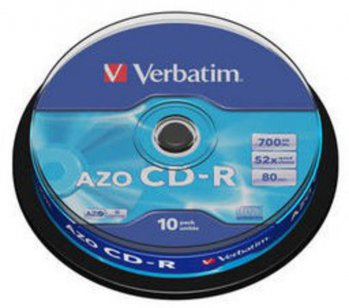 Диск CD-R Verbatim 700Mb 52x DataLife+ Cake Box (10шт) 43429