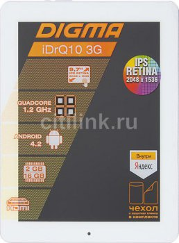 "Планшетный компьютер Digma IDrQ 10 3G QuadCore Cortex A7 (1.2)/RAM2Gb/ROM16Gb/9.7"" Retina 2048*1536/3G/WiFi/5Mp/2Mp/And4.2/silver/white/Touch/microSDH"