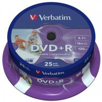 Диск DVD+R Verbatim 4.7Gb 16x Cake Box Printable (25шт) 43539