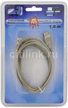 Кабель PC PET USB2.0 Am-Af extension cable 1.8m