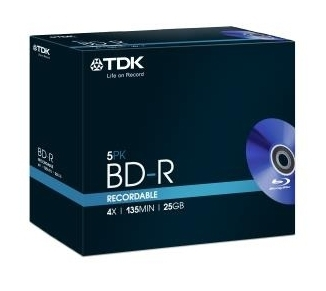 Диск BD-R TDK 25Gb 4x Full Jewell case (5шт) (t78008)