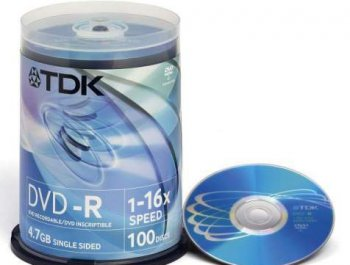 Диск DVD-R TDK 4.7Gb 16x Cake Box (100шт) (t19479) 47CBED100