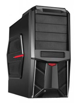 Корпус ACCORD K-13BR black red w/o PSU ATX 2*USB Audio