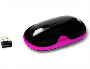 Мышь беспроводная Canyon CNR-MSOW01 (Wireless 2.4GHz, Optical 800/1600dpi, USB2.0) Black/Pink (XACNRMSOW01P)