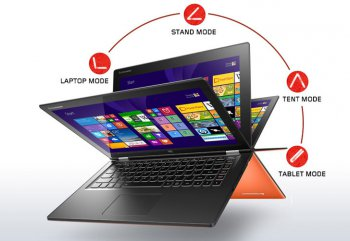 "Ноутбук Lenovo IdeaPad Yoga 2-13 i3-4010U (1.7)/4G/128G SSD/13.3""FHD GL Touch/Int:Intel HD 4400/BT/Win8.1 (59413042) (Clementine Orange)"
