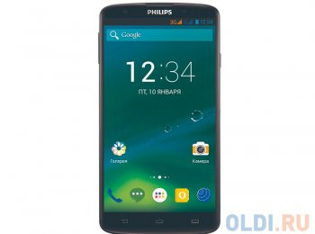 "Смартфон Philips I928 черный моноблок 3G 2Sim 6.0"" And4.4 13Mpix WiFi BT GPS 16Gb"