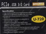 Контроллер STLab U-720 (RTL) PCI-Ex1, USB3.0, 1 port-ext, 1 port-int