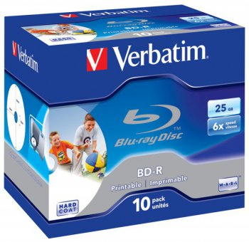 Диск BD-R BD-R Verbatim 25Gb 6x Printable Surface Scratchguard+ Jewel Case (10шт) 43713
