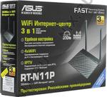 Маршрутизатор ASUS RT-N11P Wireless N Router (RTL) (4UTP 10/100 Mbps, 1WAN, 802.11b/g/n, 300Mbps, 2x5dBi)