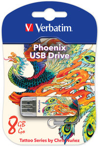 Накопитель USB 8Gb Verbatim Store n Go Mini TATTOO EDITION PHOENIX USB2.0 белый