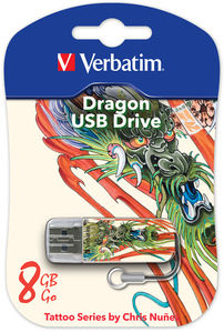 Накопитель USB 8Gb Verbatim Store n Go Mini TATTOO EDITION DRAGON USB2.0 белый