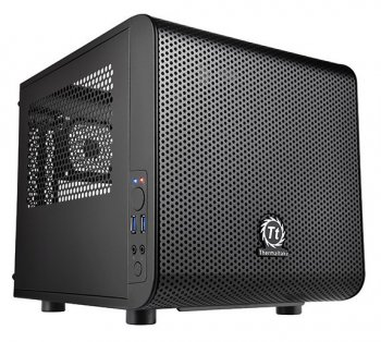 Корпус Thermaltake CA-1B8-00S Core V1 черный w/o PSU MiniITX SECC 1*2000mm 2*80mm fan 2*USB3.0 audio HD bott PSU