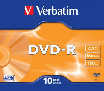 Диск DVD+R Verbatim 4.7 16 Slim case 10 (43655)