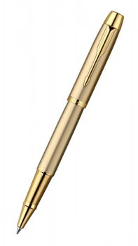 Ручка роллер Parker IM Metal T223 Brushed Metal Gold GT Fblack