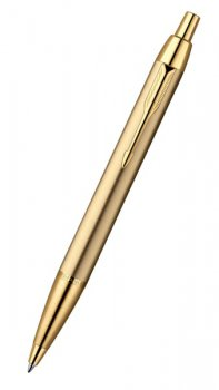 Ручка шариковая Parker R0736980 IM Metal K223 Brushed Metal Gold GT Mblue