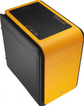Корпус Aerocool DS Cube Orange черный/оранжевый w/o PSU mATX 1x120mm 1x200mm 2xUSB2.0 2xUSB3.0 audio bott PSU