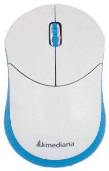 Мышь беспроводная Mediana WM-332 white/blue optical wireless (1000dpi) 3but