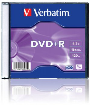 Диск DVD+R Verbatim 4.7 16 Slim case (100шт) (43515)