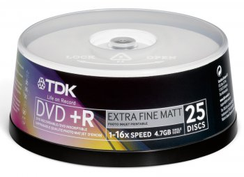 Диск DVD+R TDK 4.7Gb 16x Cake Box Printable (50шт) (T19919-69) 47PWWCBED50
