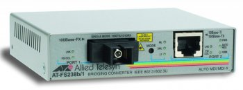Медиаконвертер Allied Telesis AT-FS238B/1-60 Single-fiber 10/100M bridging converter with 1550Tx/1310Rx, 15km reach