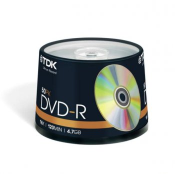 Диск DVD-R TDK 4.7Gb 16x Cake Box (50шт) (t19417) 47CBED50