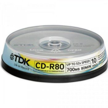 Диск CD-R TDK 700Mb 52x Cake Box (10шт) (t19539)