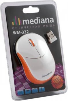 Мышь беспроводная Mediana WM-332 white/orange optical wireless (1000dpi) 3but