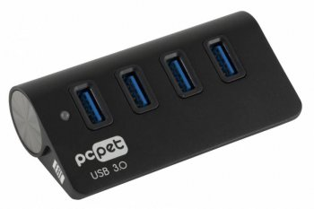 Концентратор USB 3.0 PC Pet BW-U3058A Aluminium black 4-Port USB 3.0/2.0, 86mm * 46mm * 28mm