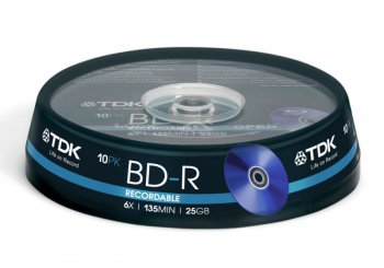 Диск BD-R TDK 25Gb 6x Cake Box (10шт) (t78082)