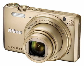 "Фотокамера Nikon CoolPix S7000 золотистый 16Mpix Zoom20x 3"" 1080p 20Mb SDXC CMOS IS opt 2minF HDMI/WiFi/EN-EL19"