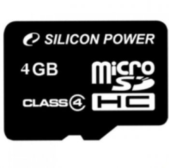 Карта памяти MicroSDHC 4GB Silicon Power Class4 без адаптера