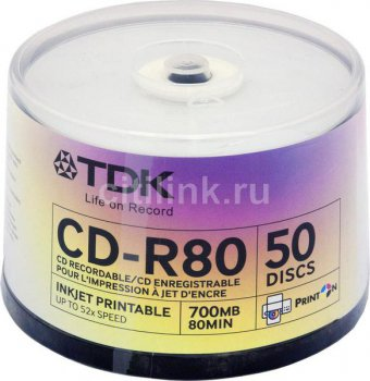 Диск CD-R TDK 700MB 52x Cake Box (50шт) Printable (t19514) 80PWWCBA50-V