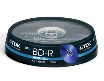 Диск BD-R TDK 25Gb 4x Cake Box (10шт) (t78088)
